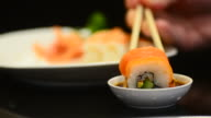 HD:Sushi bar Japanese Food at Japanese restaurant video
