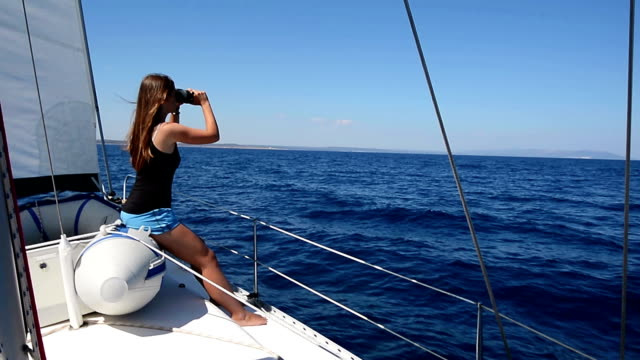 HD:Teenager observing the seascape video