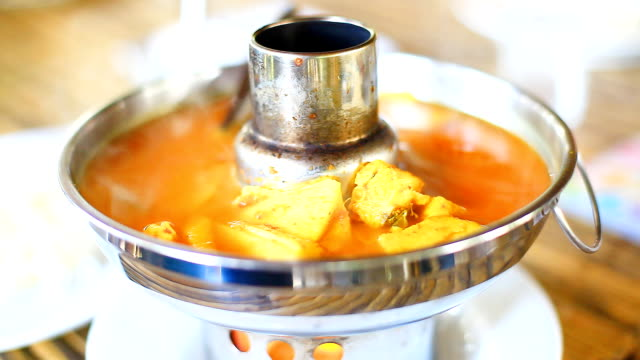 HD:Thai style spicy soup on hot bowl. video