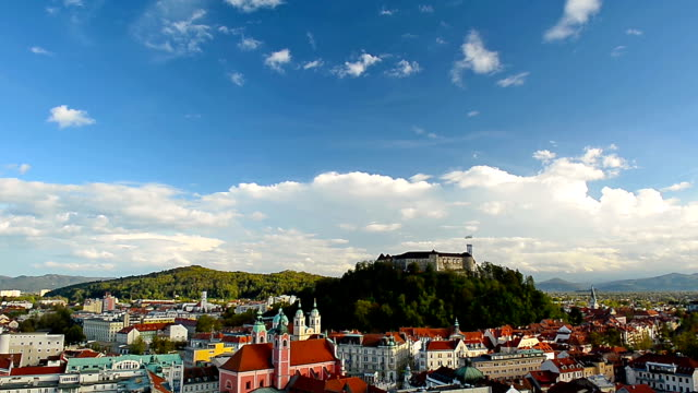 HD:Timelapse of Ljubljana Cityscape Showing Castle and Clouds video