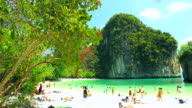 HD:Timelapse of People on a tropical beach. video