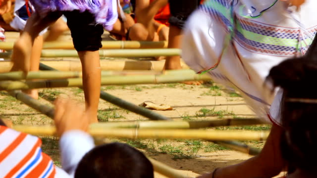 HD:Traditional karen dance with bamboo stick. video
