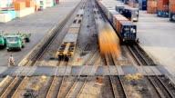HD:Train transportation in railroad yard.(Timelapse) video