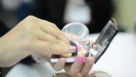 HD:Woman use powder cosmetic video
