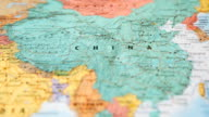 HD:World map panning view from USA to China. video