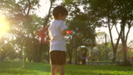 HD:Young boy blowing the soap bubbles on nature. video