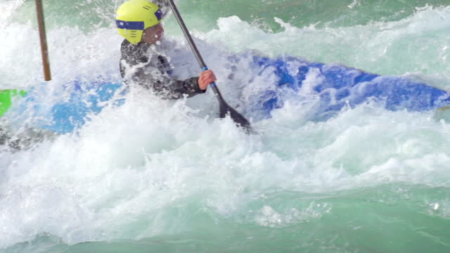 HD:Young male Kayaker Boating in Whitewater video
