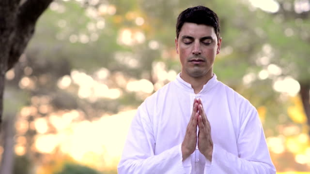 Head and shoulders of meditating men in the nature video
