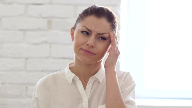 Headache, Tired Woman in Office video
