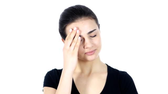 Headache,  Woman on White Background video