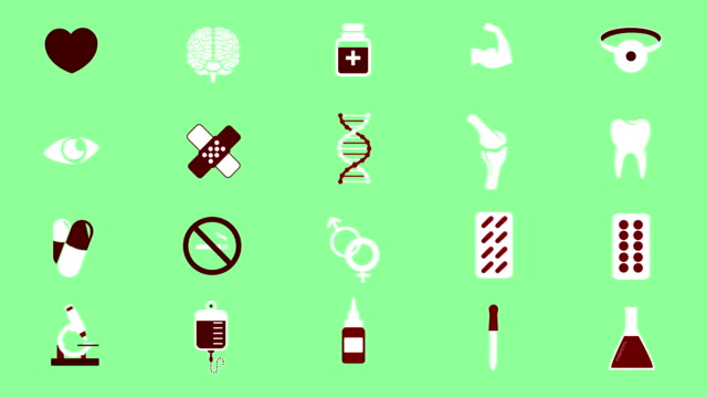 Health and medicine icons video