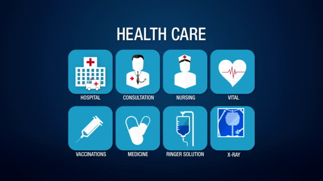 Health care icon set animation video