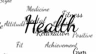 Health words background loop with matte video