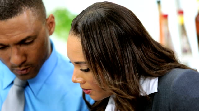 Healthy African American Couple Tablet Technology Kitchen video