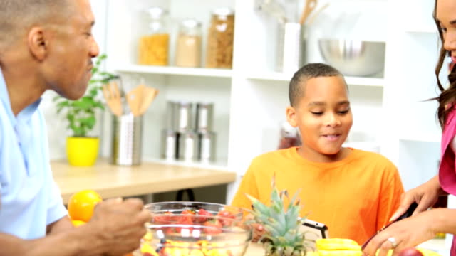 Healthy African American Family Kitchen Wireless Technology video
