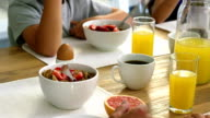 Healthy breakfast with coffee and orangejuice video