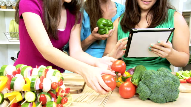 Healthy Caucasian Family Tablet Technology Kitchen video
