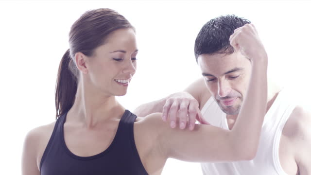 Healthy exercise man and woman video
