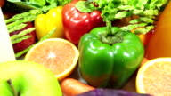 Healthy juice and vegetables with Fresh fruit video