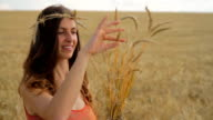 Healthy Lifestyle Woman Holding Organic Wheat Field Bread Concept video