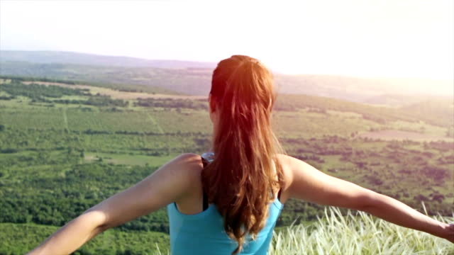 Healthy Lifestyle Young Woman Standing Nature Landscape Sport video