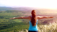 Healthy Young Female Sportswear Model Enjoying Nature View video