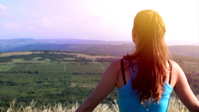 Healthy Young Fitness Woman Exercise Nature Summer Landscape video