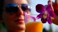 Healthy Young Woman with Fresh Fruit Juice in Summer video