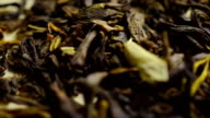 Heap of jasmine green tea macro dolly shot video