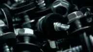 Heap of screws with rubber gaskets and flat washers video