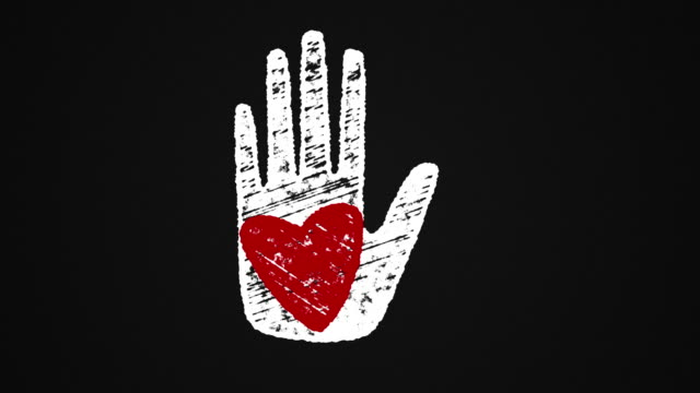heart on hand painted with chalk on a blackboard, hand drawn animation 4K video