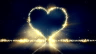 heart shape christmas lights loop background video