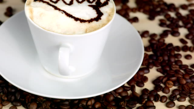 HD: Heart Shape Design Layered On Cappuccino video
