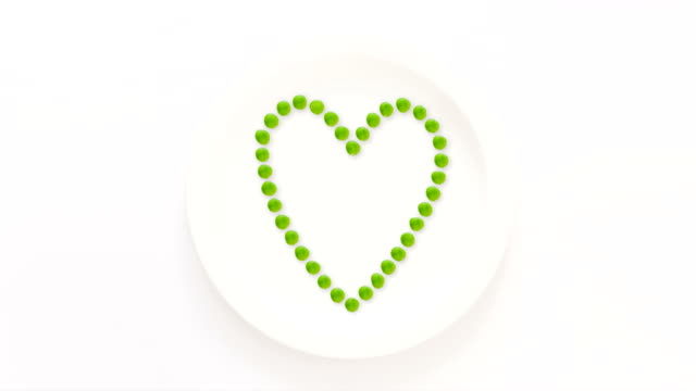 Heart shape drawn with peas video