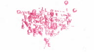 Heart symbol made by animated words Love video