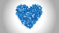 Heart Symbol made by Blue Butterflies - Alpha video