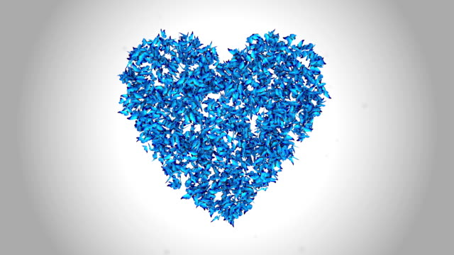 Heart Symbol made by Blue Butterflies - Alpha video