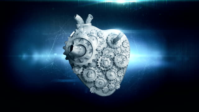 heart with rotating metal gears loop video
