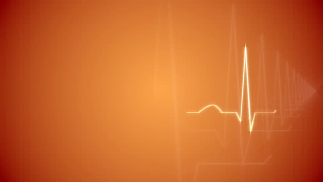 HeartBeat Cardiogram on Orange Background. video