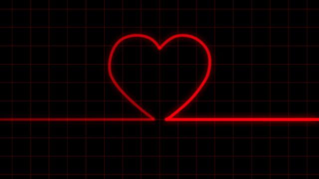 Heartbeat on EKG reveals heart shape with Matte video
