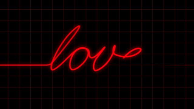 Heartbeat on EKG spells LOVE with Matte video