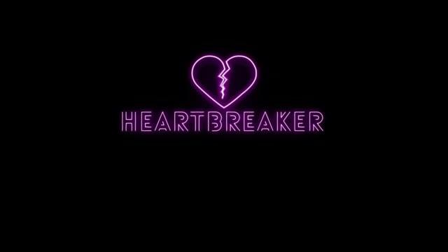Heartbreaker Sign Neon Light Alpha Channel video