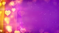 hearts bokeh lights and curved lines loopable background video