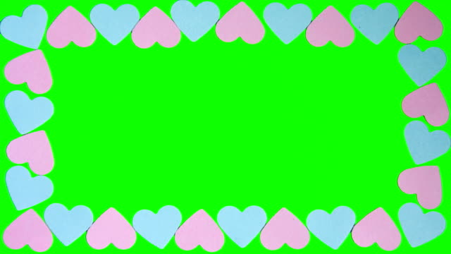 Hearts shaped on the green screen video