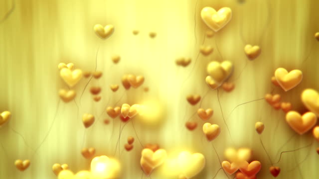 Heart-Shaped Ballons Flying (Yellow) - Loop video