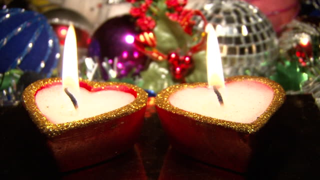 Heart-shaped candles with decorations video