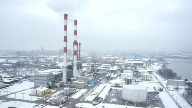 heating plant aerial view video