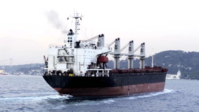 Heavy Big Cargo Bulk Vessel passing through Bosphorus video