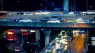 Heavy Evening Traffic On Highway Overpass video