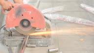 Heavy industry worker cutting steel video